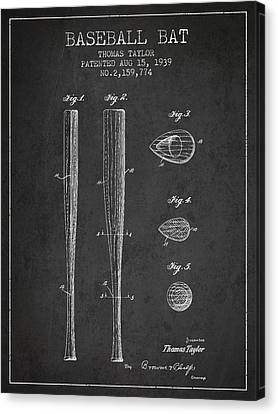 Baseball Canvas Print - Vintage Baseball Bat Patent From 1939 by Aged Pixel