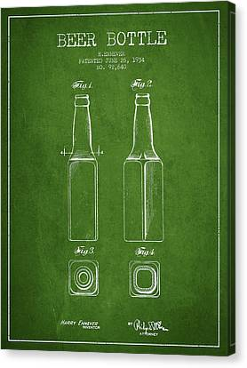 Vintage Beer Bottle Patent Drawing From 1934 - Green Canvas Print by Aged Pixel