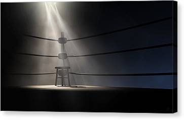 Empty Chairs Canvas Print - Vintage Boxing Corner And Stool by Allan Swart
