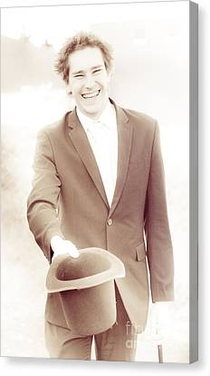 Vintage Business Man Greeting With Hat Off Canvas Print