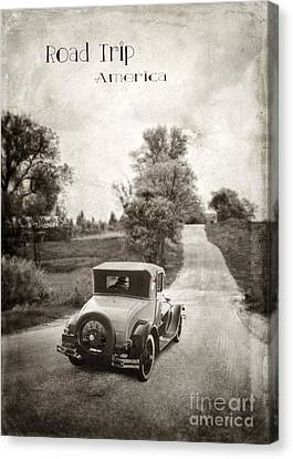 Old Country Roads Canvas Print - Vintage Car On A Rural Road by Jill Battaglia