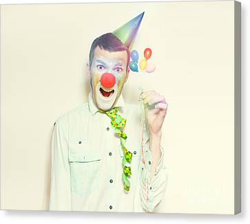 Vintage Clown With Birthday Balloons And Streamers Canvas Print by Jorgo Photography - Wall Art Gallery