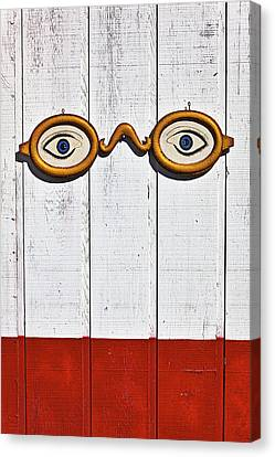 Glass Wall Canvas Print - Vintage Eye Sign On Wooden Wall by Garry Gay