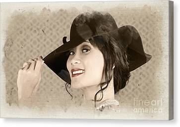 Vintage Fashion Portrait. Woman In Wide Brim Hat Canvas Print by Jorgo Photography - Wall Art Gallery