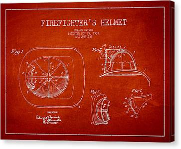 Living Room Decor Canvas Print - Vintage Firefighter Helmet Patent Drawing From 1932 by Aged Pixel