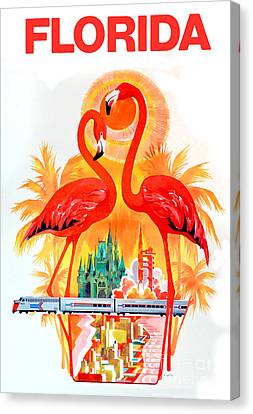 Flamingo Canvas Print - Vintage Florida Travel Poster by Jon Neidert