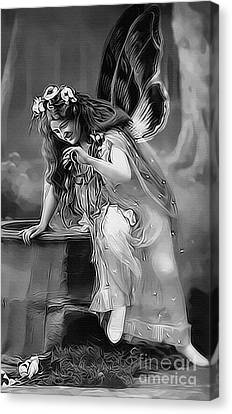 Vintage Garden Nymph Canvas Print by Lesa Fine