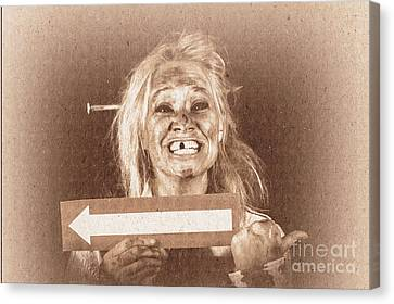 Vintage Grunge Monster Holding Arrow Card Canvas Print by Jorgo Photography - Wall Art Gallery