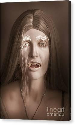 Vintage Halloween Portrait. Gothic Vampire Girl Canvas Print