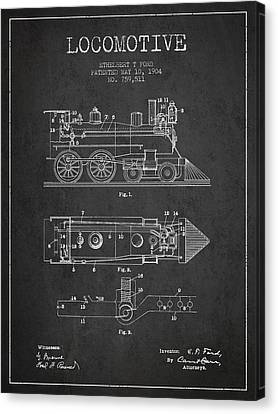 Vintage Locomotive Patent From 1904 Canvas Print
