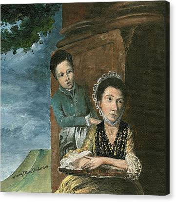 Canvas Print featuring the painting Vintage Mother And Son by Mary Ellen Anderson
