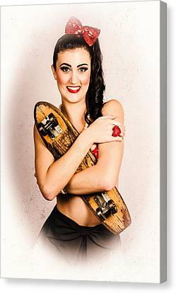 Vintage Portrait Of A Pin-up Model With Skateboard Canvas Print by Jorgo Photography - Wall Art Gallery