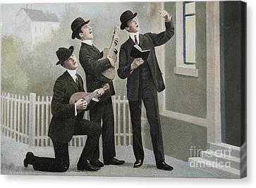 Vintage Postcard With Three Men Bringing An Aubade Canvas Print by Patricia Hofmeester