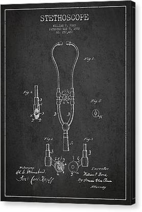 Vintage Stethoscope Patent Drawing From 1882 - Dark Canvas Print by Aged Pixel