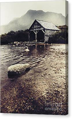 Vintage Style Landscape Of A Rustic Boat Shed Canvas Print