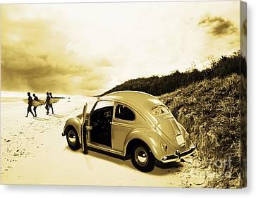 Vintage Surfing Scene Canvas Print