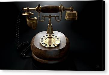 Aged Wood Canvas Print - Vintage Telephone Dark Isolated by Allan Swart