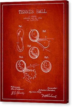 Vintage Tennnis Ball Patent Drawing From 1914 Canvas Print