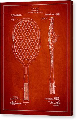 Vintage Tennnis Racketl Patent Drawing From 1921 Canvas Print by Aged Pixel