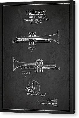 Vintage Trumpet Patent From 1940 - Dark Canvas Print by Aged Pixel