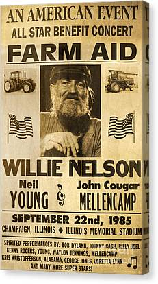 Vintage Willie Nelson 1985 Farm Aid Poster Canvas Print