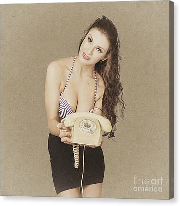 Vintage Young Pin Up Woman With Phone. Contact Us Canvas Print by Jorgo Photography - Wall Art Gallery