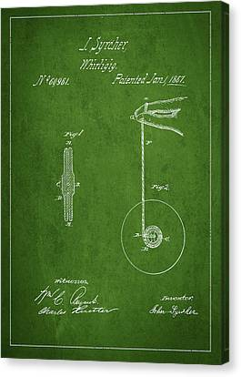 Vintage Yoyo Patent Drawing From 1867 Canvas Print by Aged Pixel
