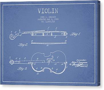 Violin Patent Drawing From 1928 Canvas Print