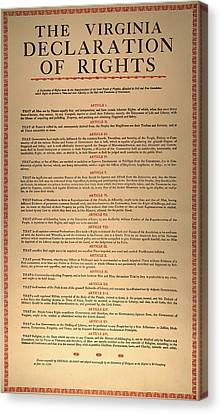 Virginia Constitution, 1776 Canvas Print by Granger