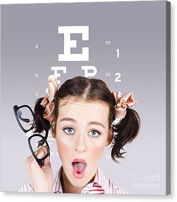 Vision Impaired Woman At Optometrist Canvas Print by Jorgo Photography - Wall Art Gallery