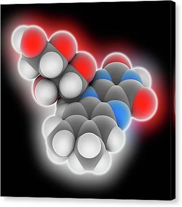 Trace Canvas Print - Vitamin B2 Riboflavin Molecule by Laguna Design
