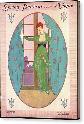 Vogue Cover Illustration Of A Woman In A Green Canvas Print by Helen Dryden