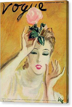Pink Lipstick Canvas Print - Vogue Cover Of A Woman With Rose by Carl Oscar August Erickson