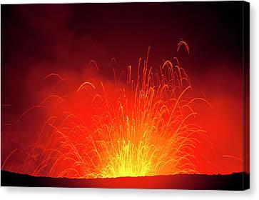 Michael Canvas Print - Volcano Eruptions At The Yasur Volcano by Michael Runkel