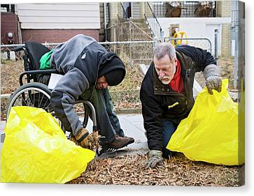 Eco-friendly Canvas Print - Volunteers Clearing Park Litter by Jim West