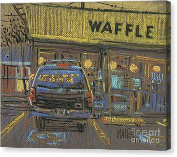 Canvas Print featuring the painting Waffle House by Donald Maier