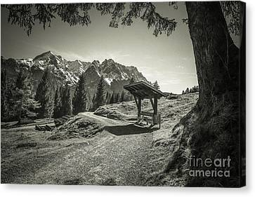 walking in the Alps - bw Canvas Print by Hannes Cmarits