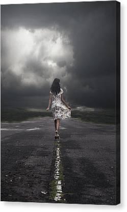 Creepy Canvas Print - Walking On The Street by Joana Kruse
