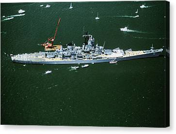 War Ship In New York Harbor, New York Canvas Print