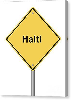 Warning Sign Haiti Canvas Print by Henrik Lehnerer