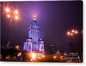 Warsaw Poland Downtown Skyline At Night Canvas Print by Michal Bednarek