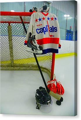 Washington Capitals Vintage Home Hockey Jersey Canvas Print by Lisa Wooten