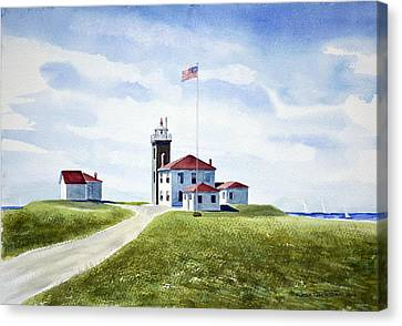 Watch Hill Ri Lighthouse Canvas Print by Joan Hartenstein