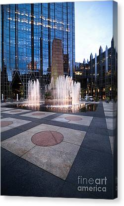 Water Fountain At Ppg Place Plaza Pittsburgh Canvas Print by Amy Cicconi