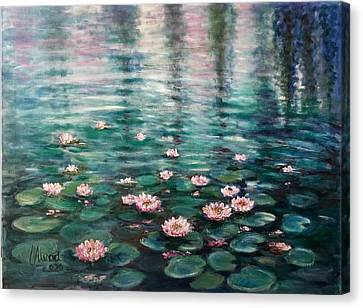 Canvas Print featuring the painting Water Lilies by Laila Awad Jamaleldin