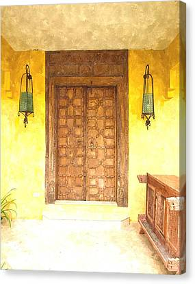 watercolor of antique Moroccan style wooden door  on yellow wall Canvas Print by Ammar Mas-oo-di