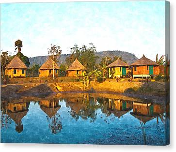 watercolor of bamboo cottages and and thier reflections in pond in Nakorn Ratchasima in Thailand Canvas Print by Ammar Mas-oo-di