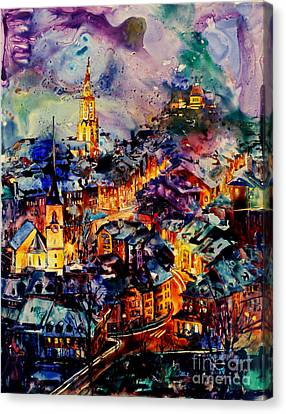 Watercolor On Yupo Synthetic Paper Of Bern Switzerland Canvas Print by Ryan Fox