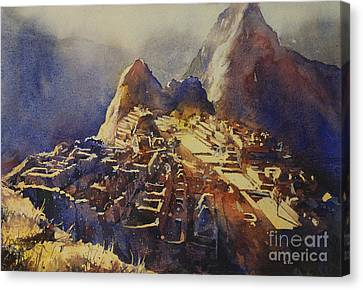 Archaeology Canvas Print - Watercolor Painting Machu Picchu Peru by Ryan Fox