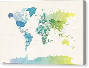 Map Art Canvas Print - Watercolour Political Map Of The World by Michael Tompsett